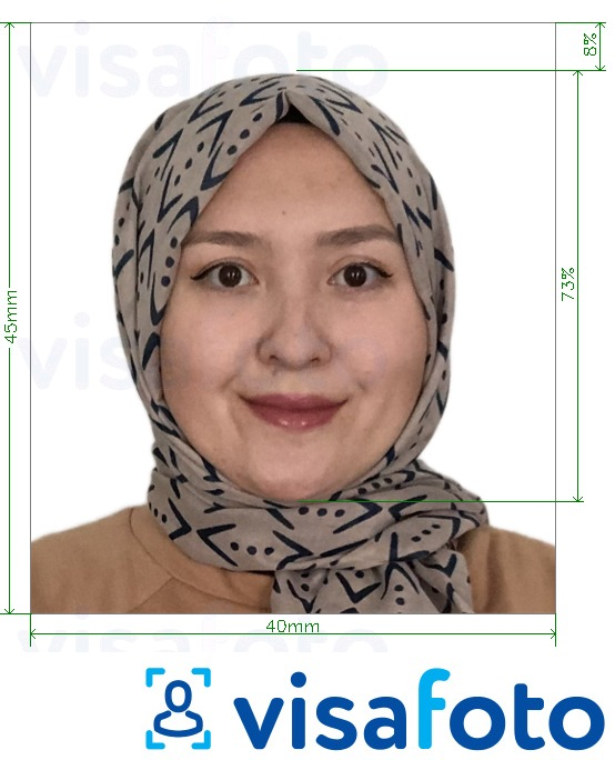 Example of photo for Afghanistan passport 4x4.5 cm (40x45 mm) with exact size specification