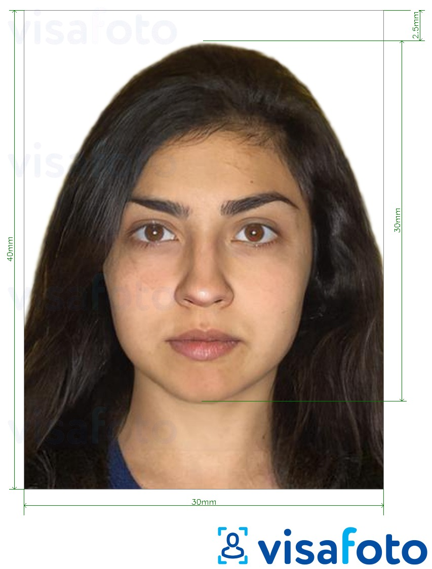 Example of photo for Armenia ID card 3x4 cm with exact size specification