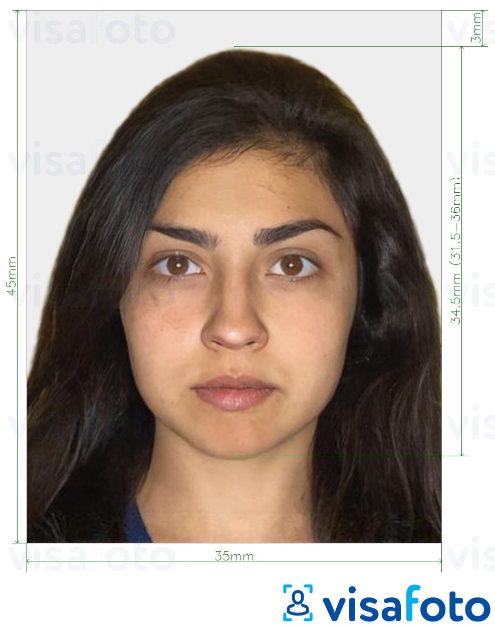 Example of photo for Armenia visa 35x45 mm (3.5x4.5 cm) with exact size specification