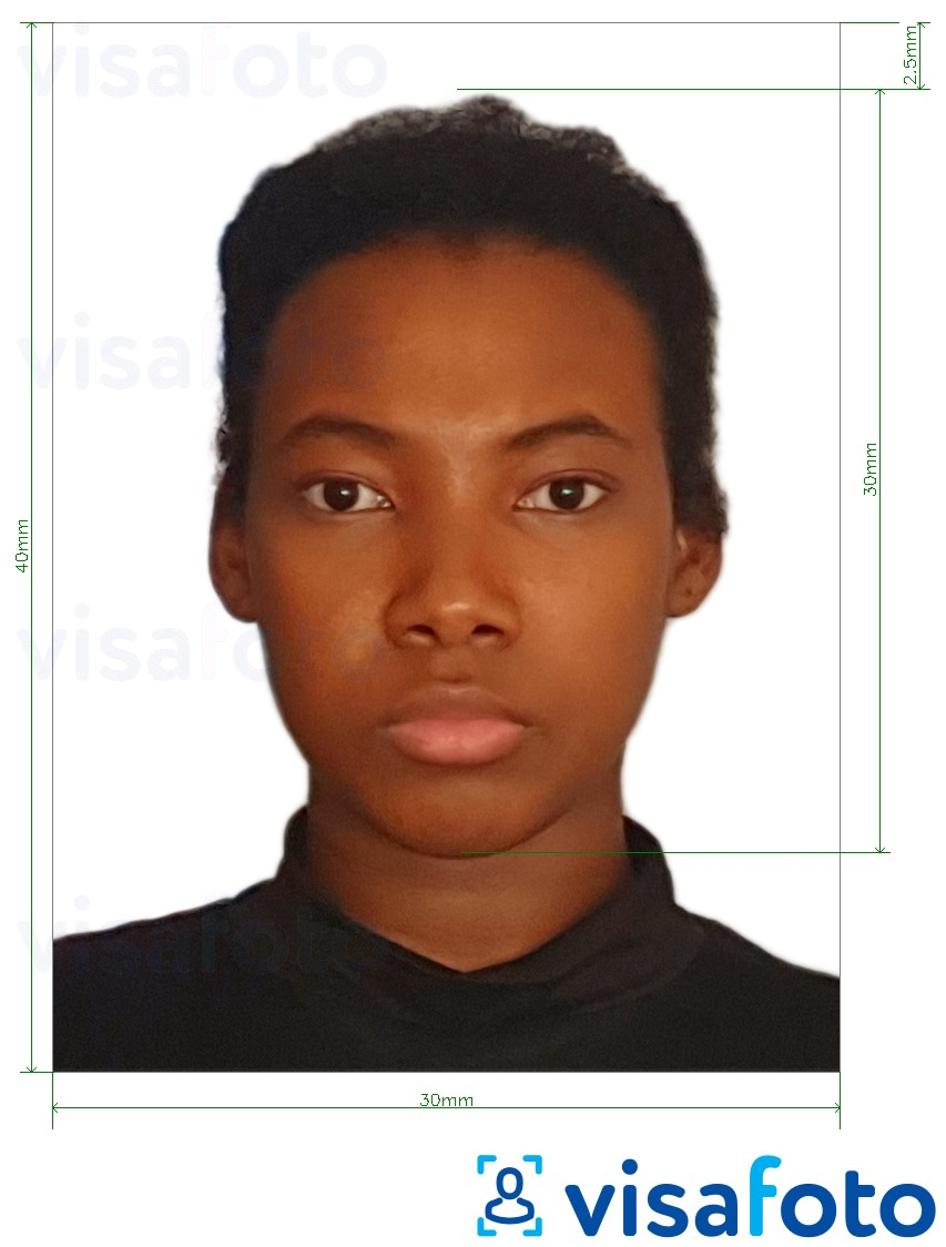 Example of photo for Angola visa 3x4 cm (30x40 mm) with exact size specification