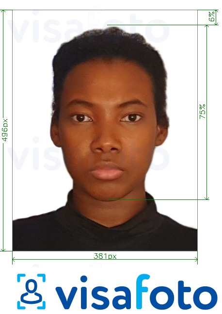 Example of photo for Angola visa online 381x496 pixels with exact size specification