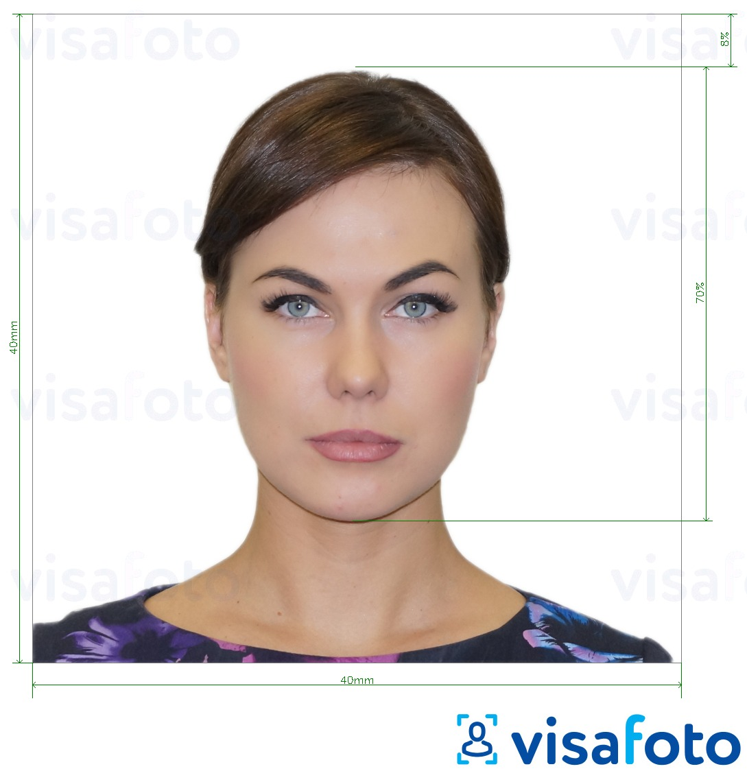 Example of photo for Argentina passport 4x4 cm (40x40 mm) with exact size specification