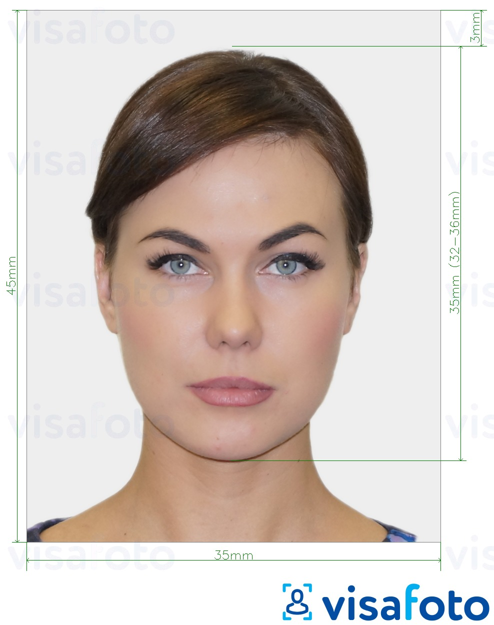 Example of photo for Australia Queensland Driver's Licence Photo-kit 35x45 mm with exact size specification
