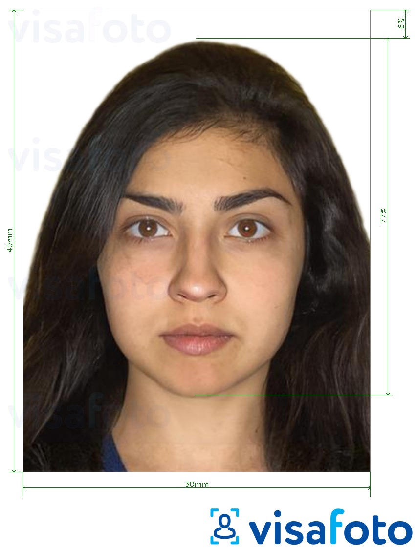 Example of photo for Azerbaijan visa 30x40mm (3x4 cm) with exact size specification