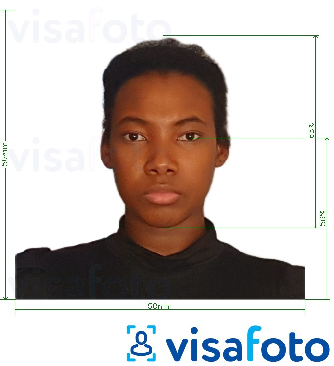 Example of photo for Barbados Passport 5x5 cm with exact size specification