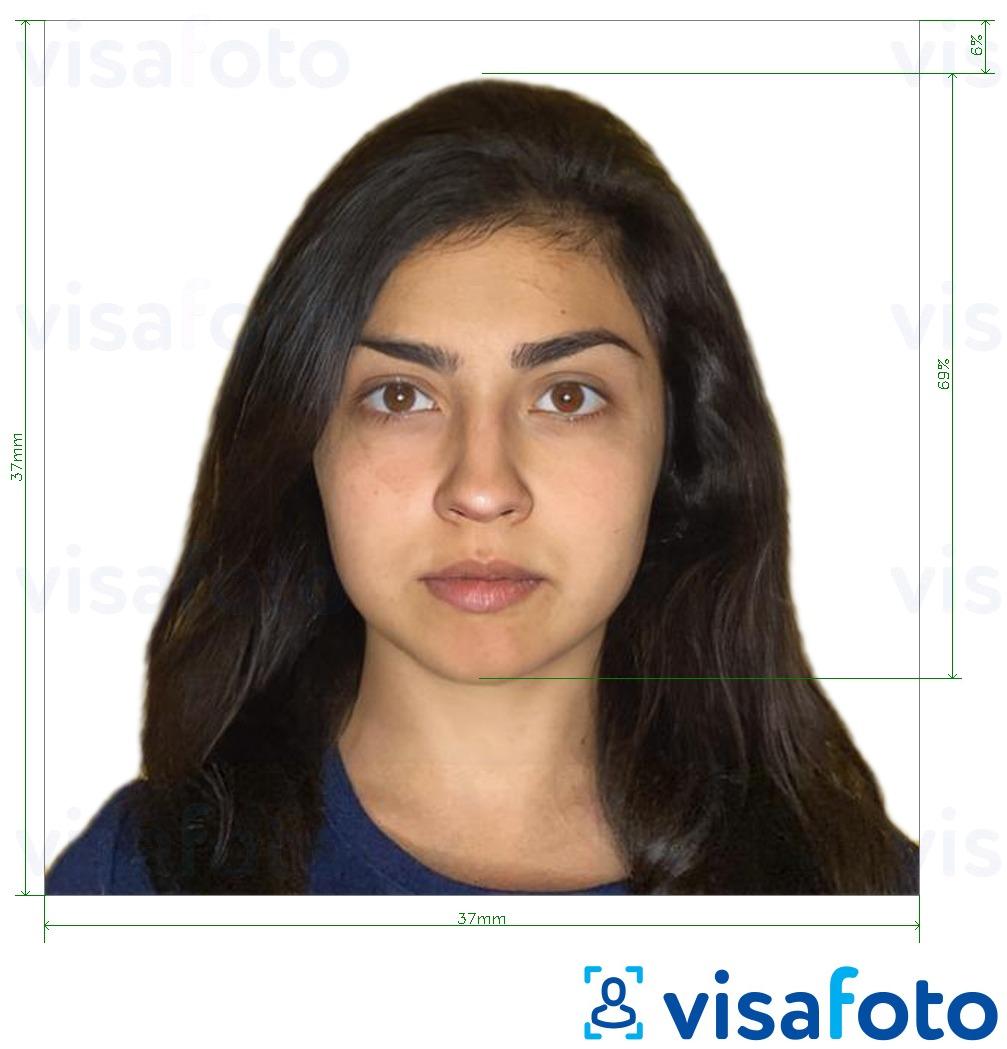 Example of photo for Bangladesh visa 37x37 mm with exact size specification