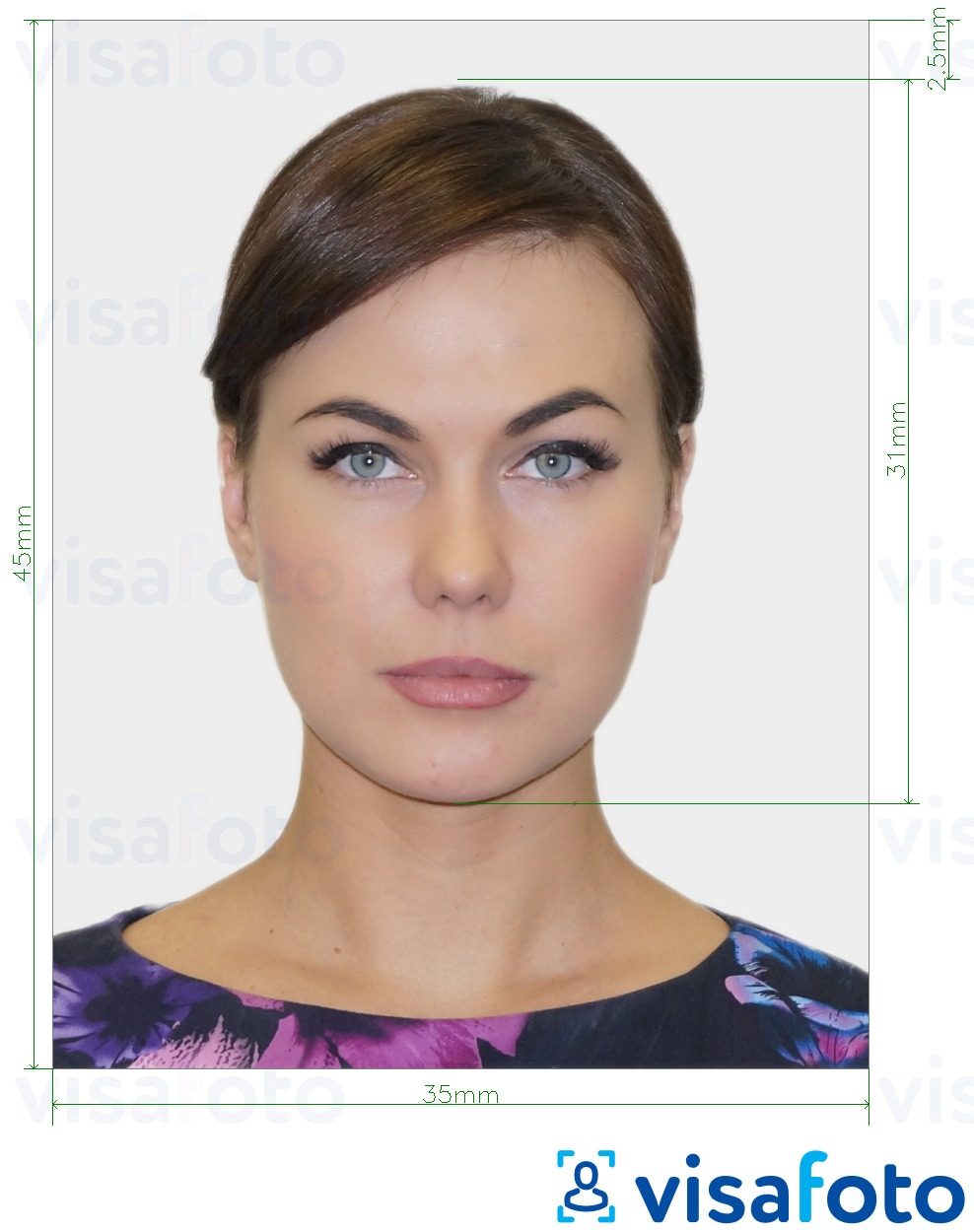 Example of photo for Belgium Visa 35x45 mm (3.5x4.5 cm) with exact size specification
