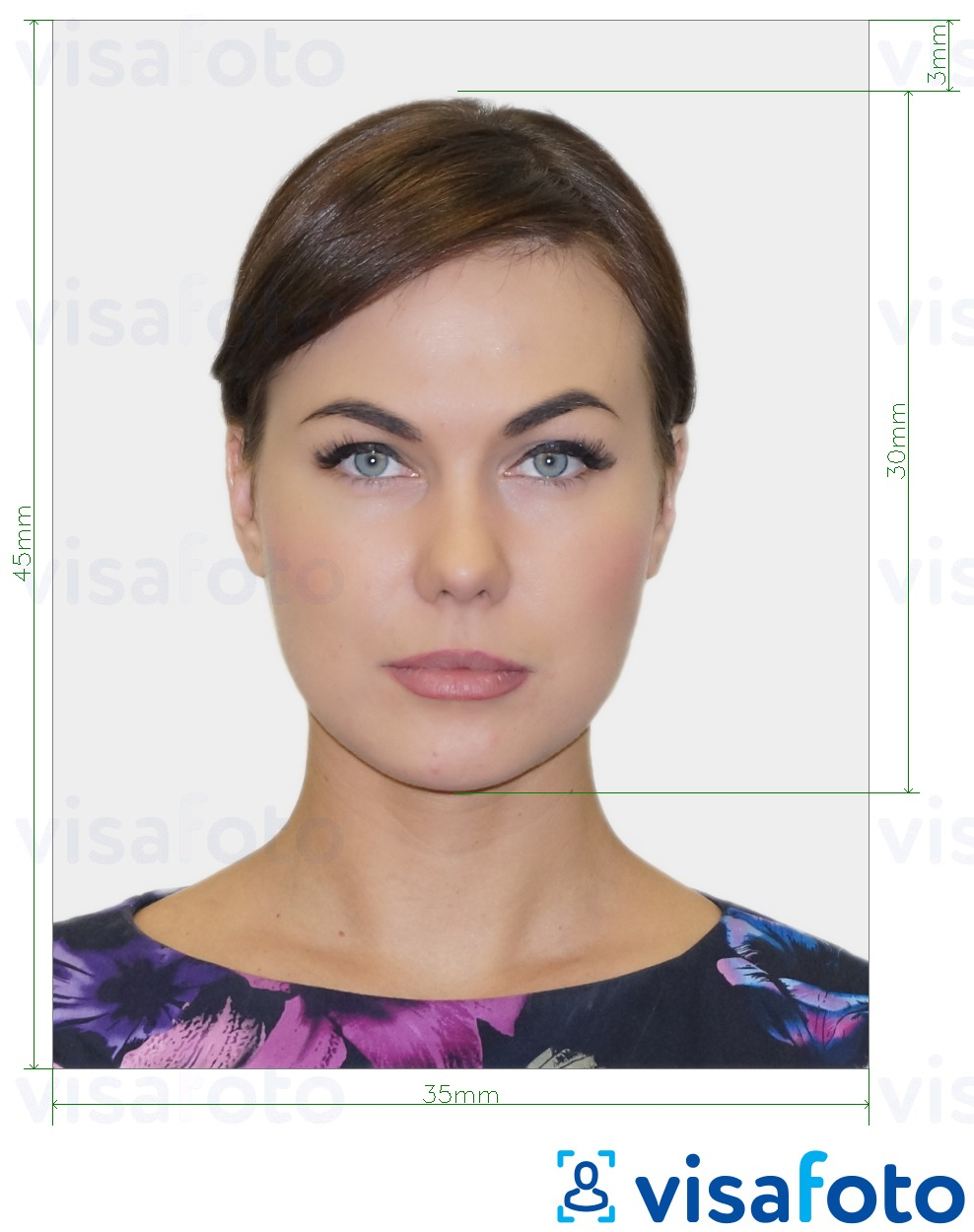 Example of photo for Bulgaria passport 35x45 mm with exact size specification