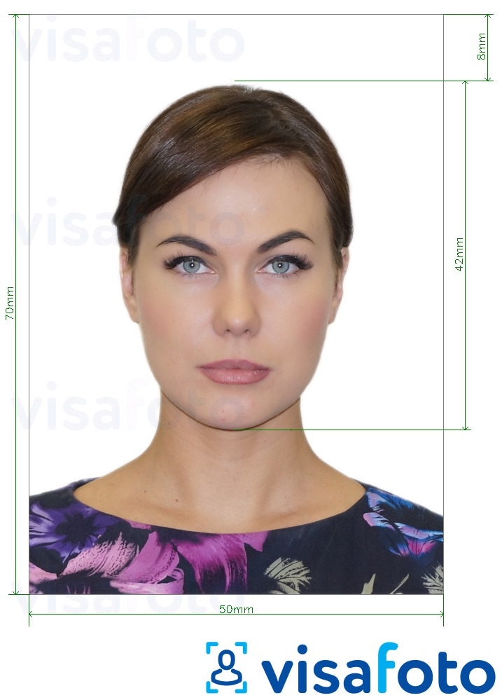Example of photo for Brazil Common Passport 5x7 cm with exact size specification