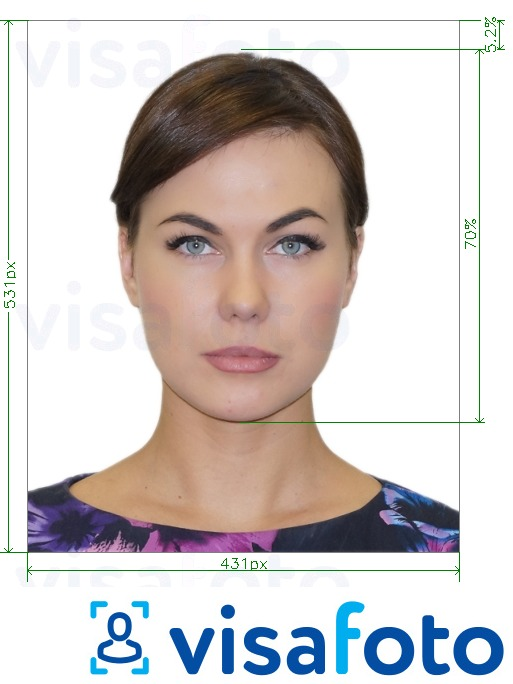 Example of photo for Brazil Visa online 431x531 px with exact size specification