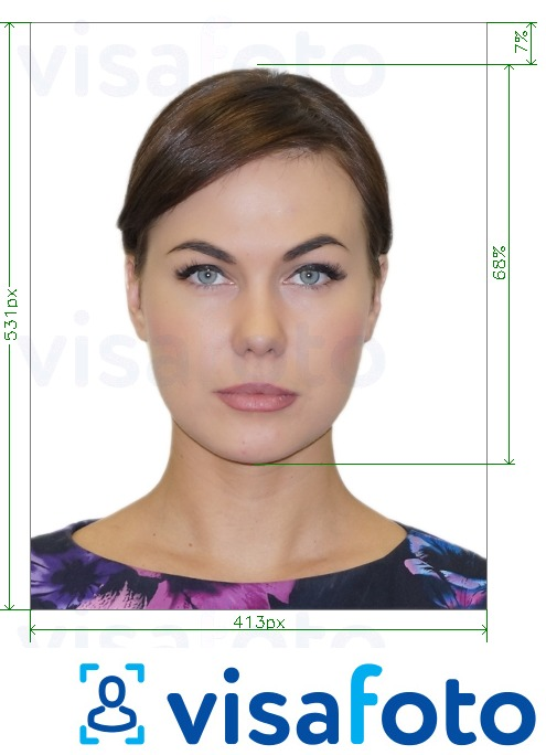 Example of photo for Brazil visa online 413x531 px via VFSGlobal with exact size specification