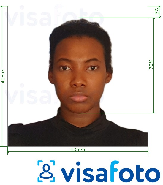 Example of photo for Congo (Brazzaville) passport 4x4 cm (40x40 mm) with exact size specification