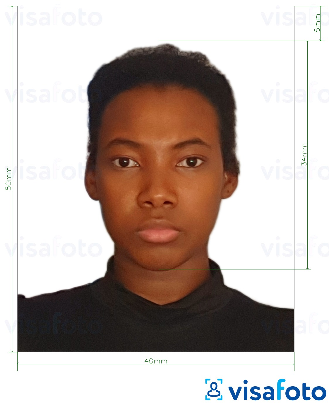 Example of photo for Cameroon passport 4x5 cm (40x50 mm) with exact size specification