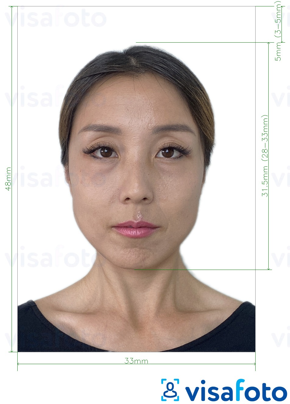 Example of photo for China Passport 33x48 mm with exact size specification