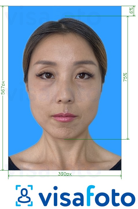 Example of photo for Putonghua Proficiency Test 390x567 pixels blue background with exact size specification