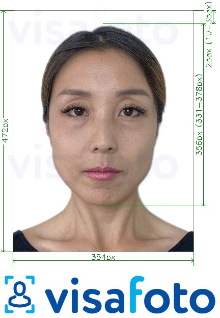 Example of photo for China Visa online 354x472 - 420x560 pixels with exact size specification