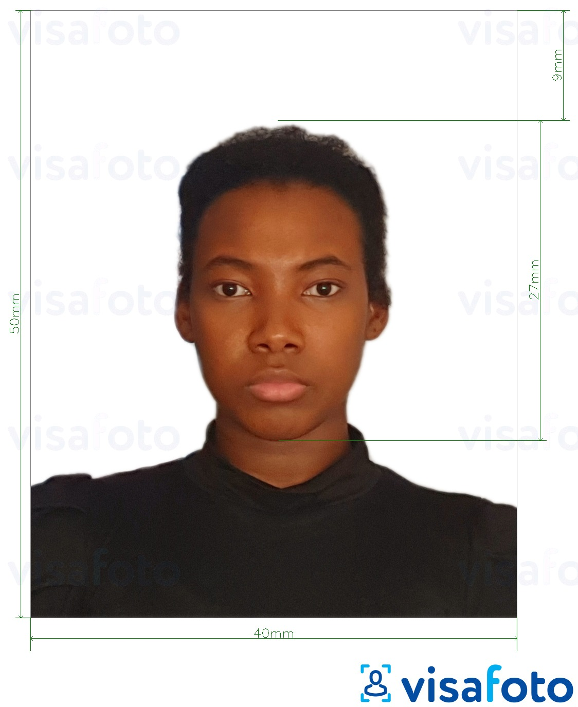 Example of photo for Colombia ID card 4x5 cm with exact size specification