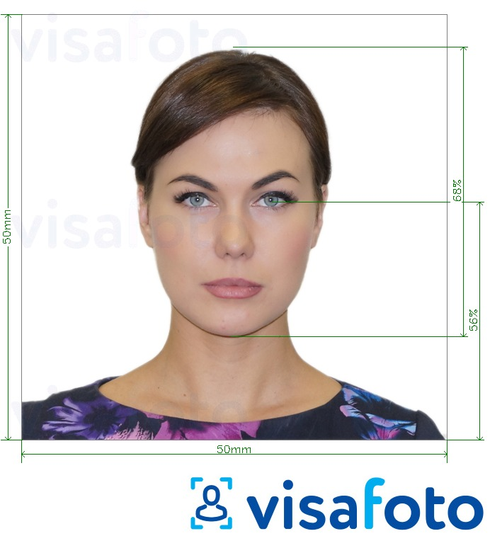 Example of photo for Czech Republic Passport 5x5cm (50x50mm) with exact size specification