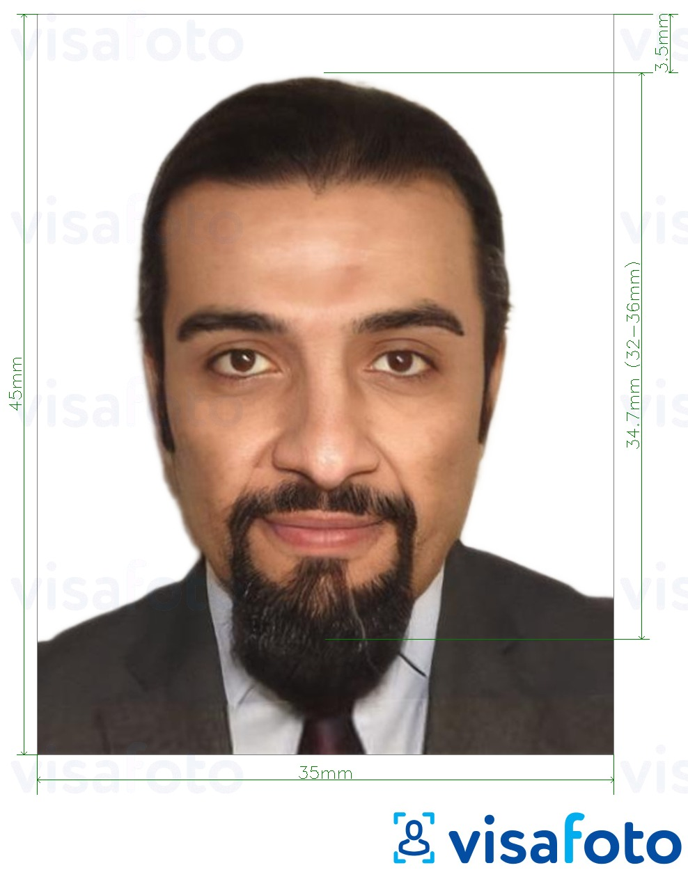 Example of photo for Algeria visa 35x45 mm (3.5x4.5 cm) with exact size specification