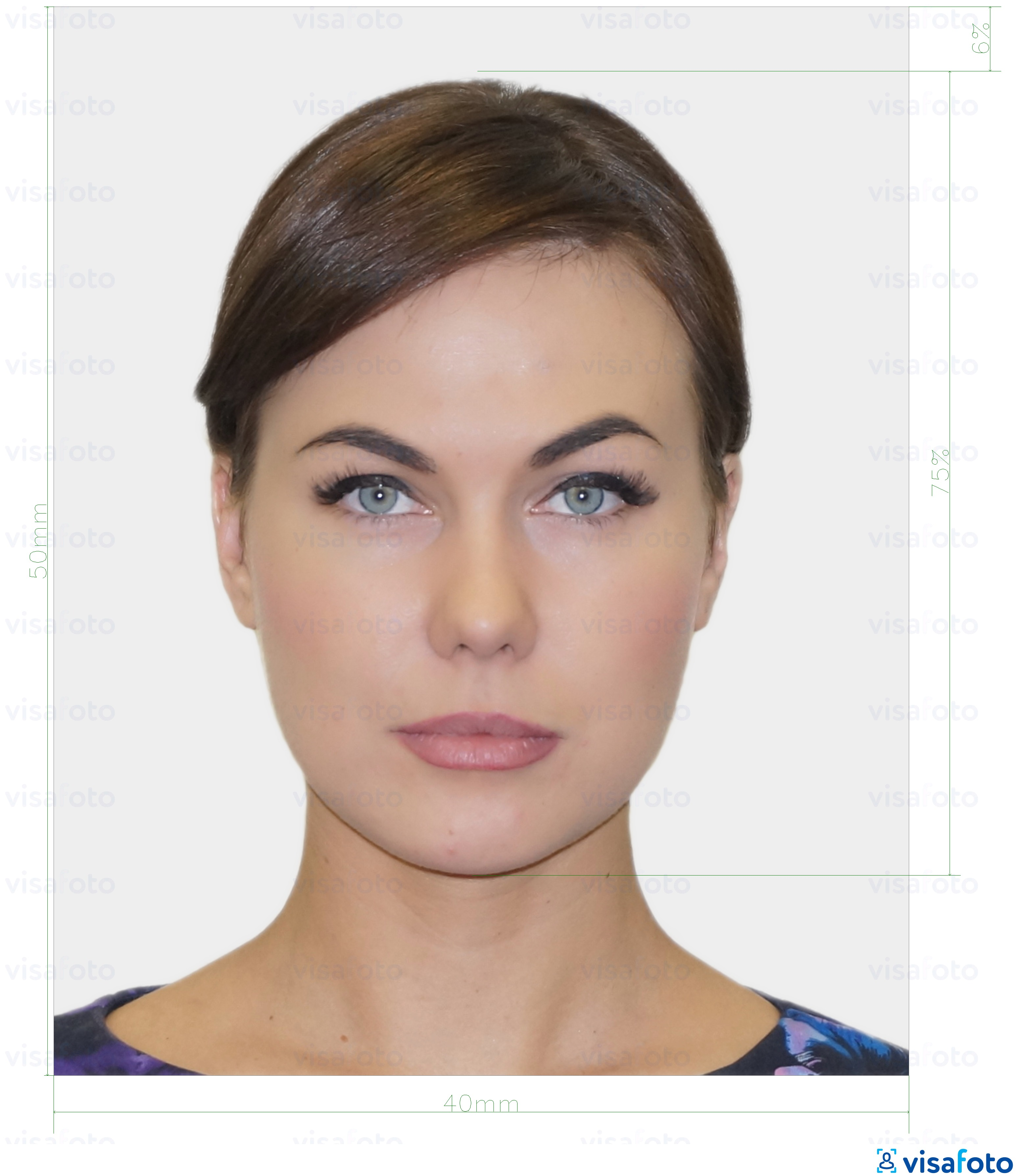 Example of photo for Estonia ID card (ID-kaart) 40x50 mm (4x5 cm) with exact size specification