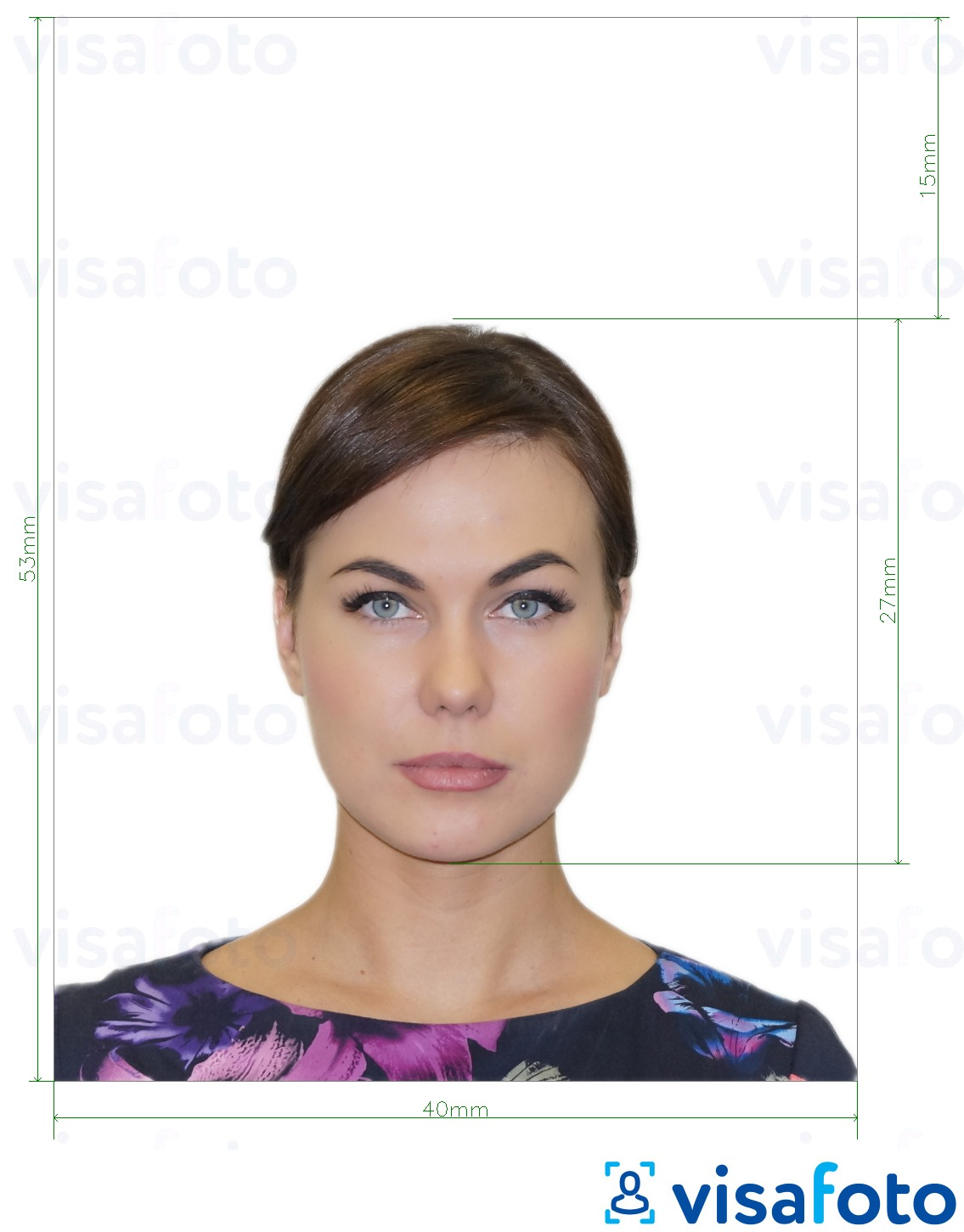 Example of photo for Spain Passport 40x53 mm with exact size specification