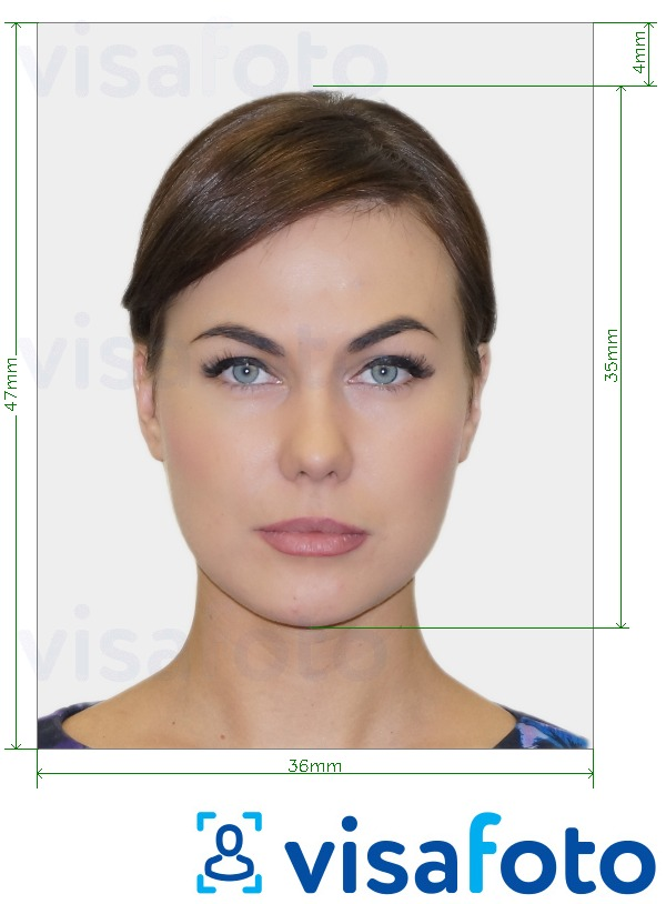 Example of photo for Finland Passport with exact size specification