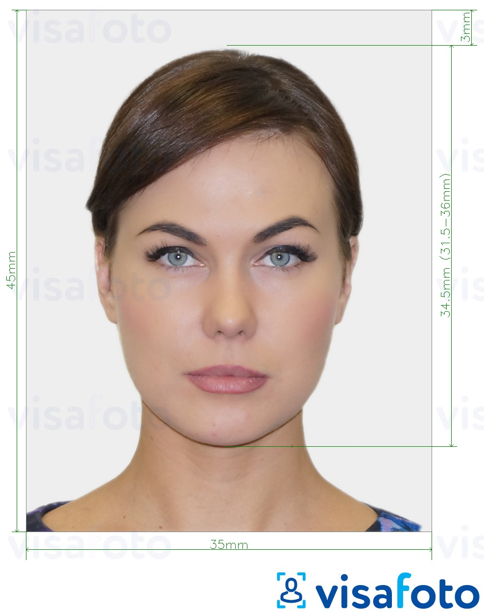 Example of photo for France Passport 35x45 mm (3.5x4.5 cm) with exact size specification