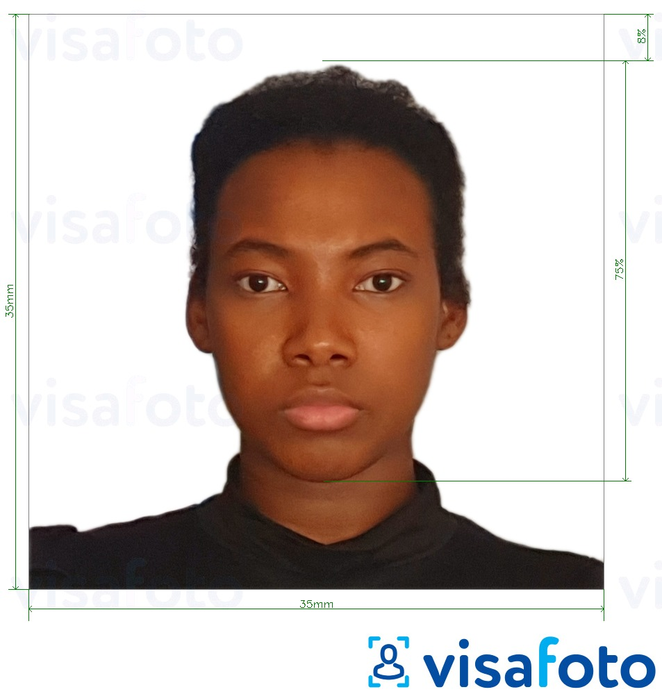 Example of photo for Gabon visa 35x35 mm (3.5x3.5 cm) with exact size specification