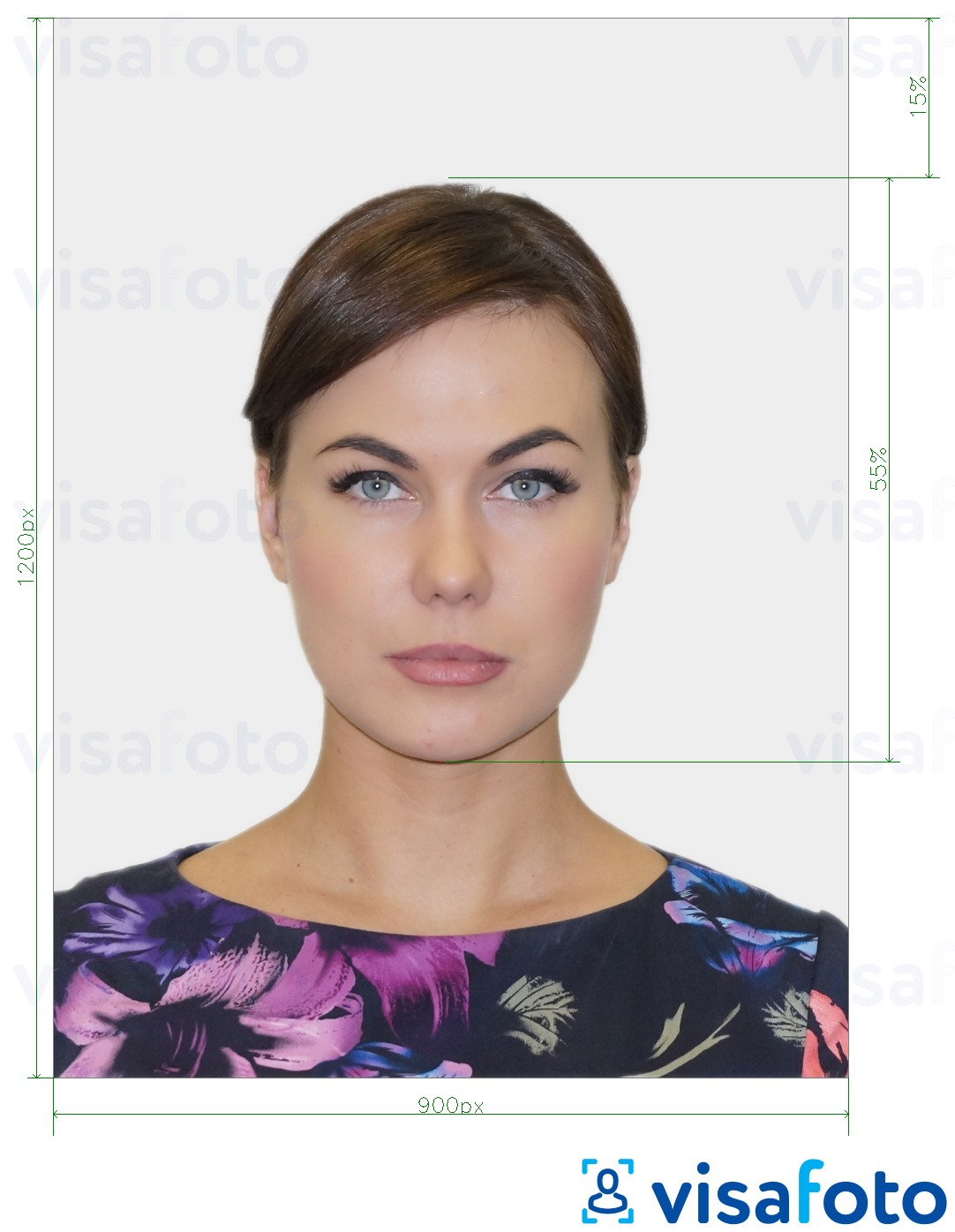 Example of photo for UK Passport online with exact size specification