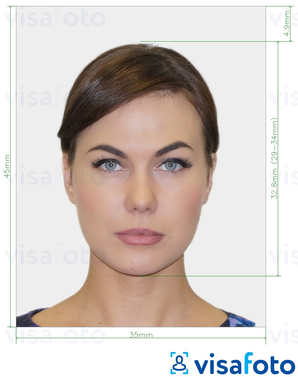 Example of photo for UK Visa 35x45 mm (3.5x4.5 cm) with exact size specification