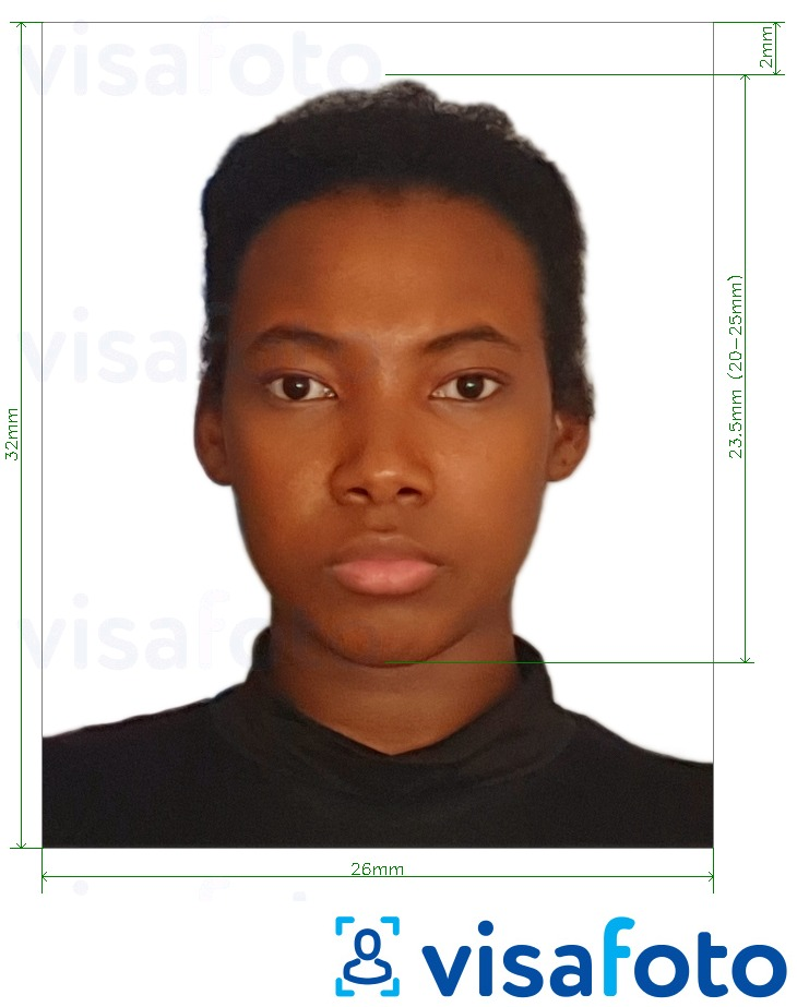 Example of photo for Guyana passport 32x26 mm (1.26x1.02 inch) with exact size specification