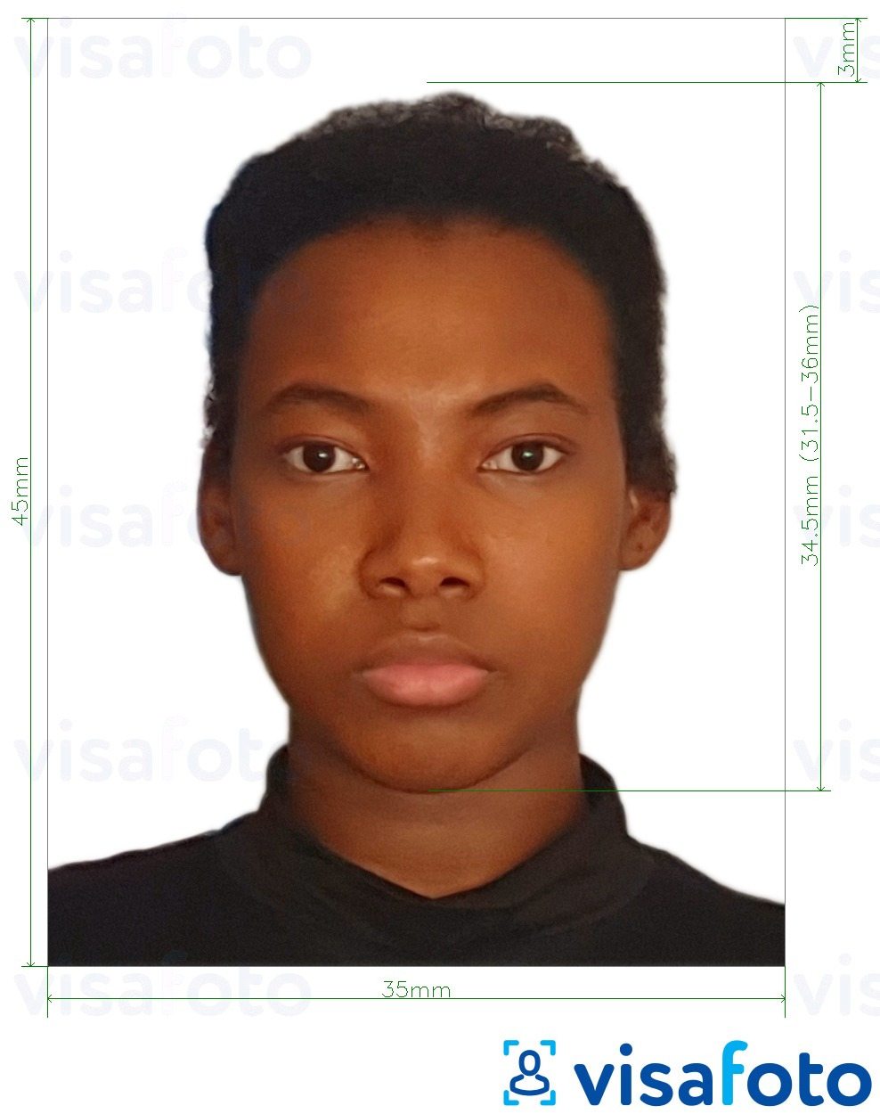 Example of photo for Guyana passport 45x35 mm (1.77 x 1.38 inch) with exact size specification