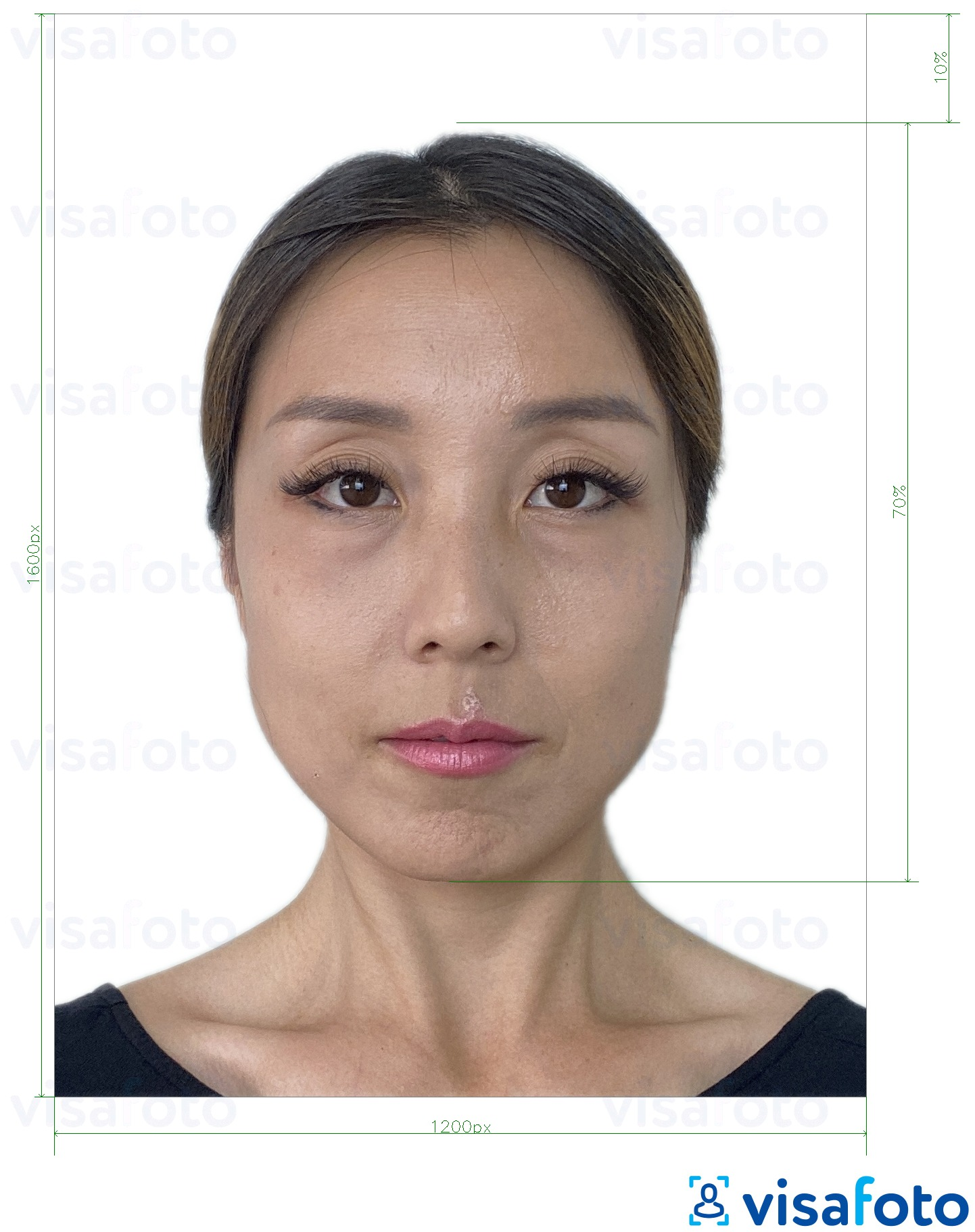 Example of photo for Hong Kong online e-passport 1200x1600 pixels with exact size specification