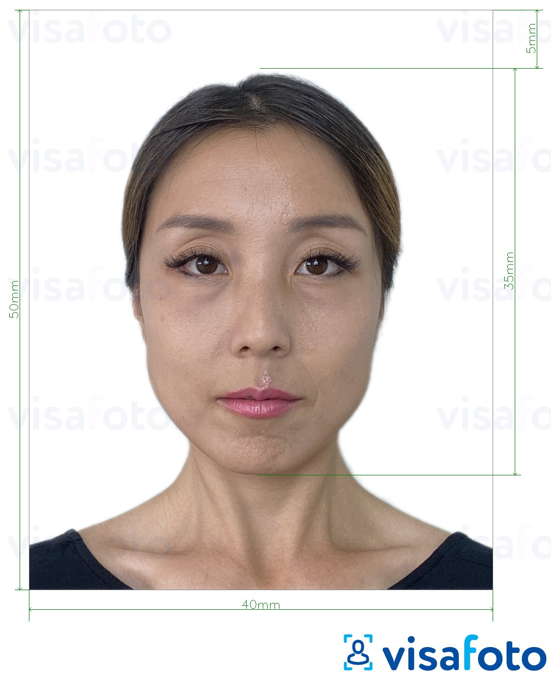 Example of photo for Hong Kong Passport 40x50 mm (4x5 cm) with exact size specification