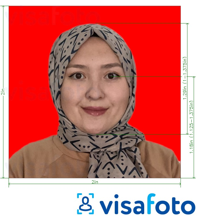 Example of photo for Indonesia passport 51x51 mm (2x2 inch) red background with exact size specification