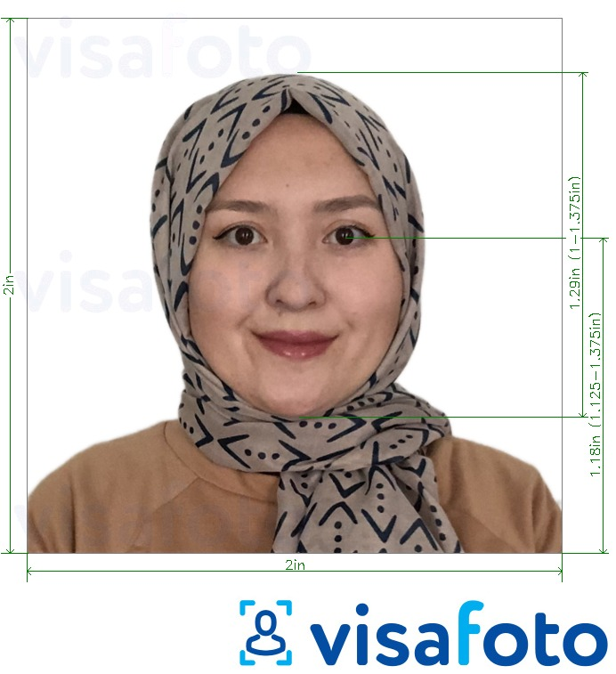 Example of photo for Indonesia passport 51x51 mm (2x2 inch) white background with exact size specification