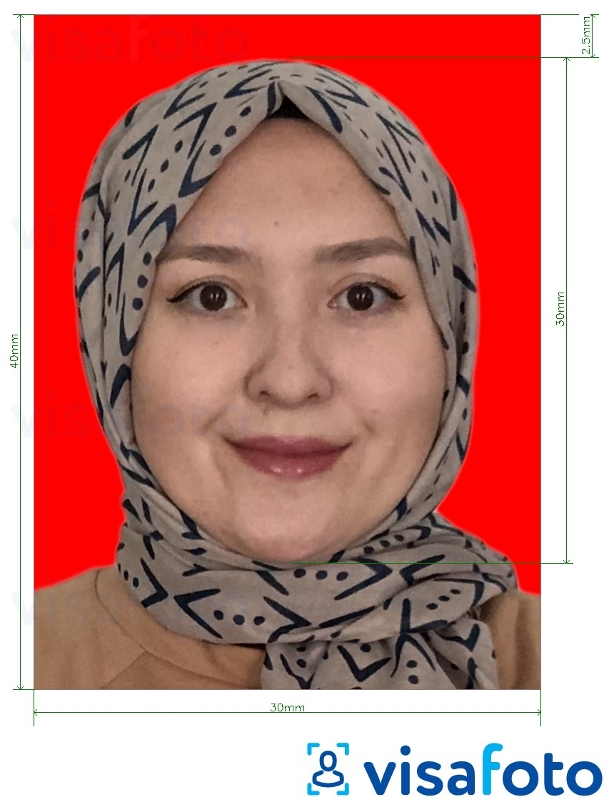 Example of photo for Indonesia visa 3x4 cm (30x40 mm) online red background with exact size specification