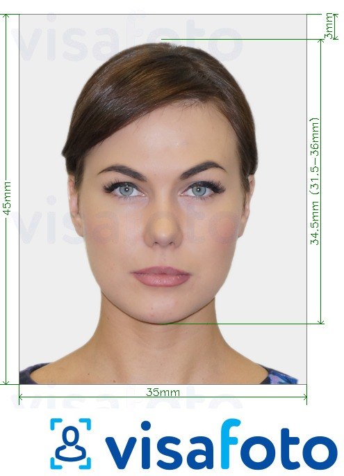 Example of photo for Ireland Passport offline 35x45 mm (3.5x4.5 cm) with exact size specification