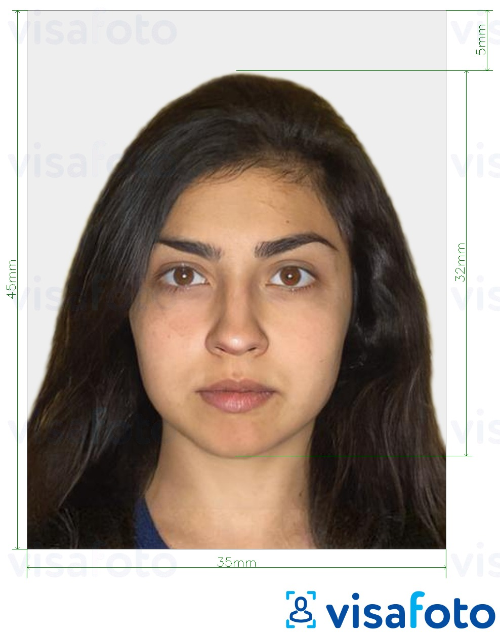 Example of photo for Israel Passport 35x45 mm (3.5x4.5 cm) with exact size specification