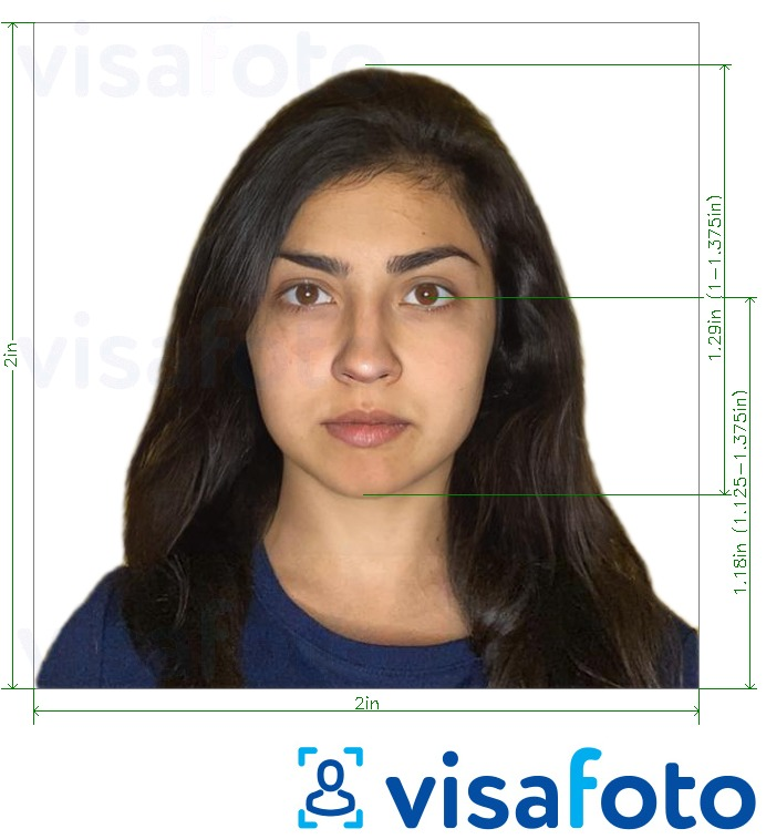 Example of photo for Israel Passport 5x5 cm (2x2 in, 51x51 mm) with exact size specification