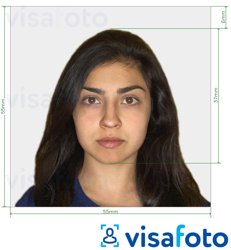 Example of photo for Israel Visa 55x55mm (usually from India) with exact size specification