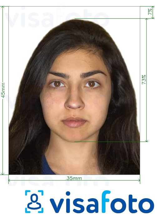 Example of photo for India driving licence 35x45 mm (1.4x1.75 inch) with exact size specification