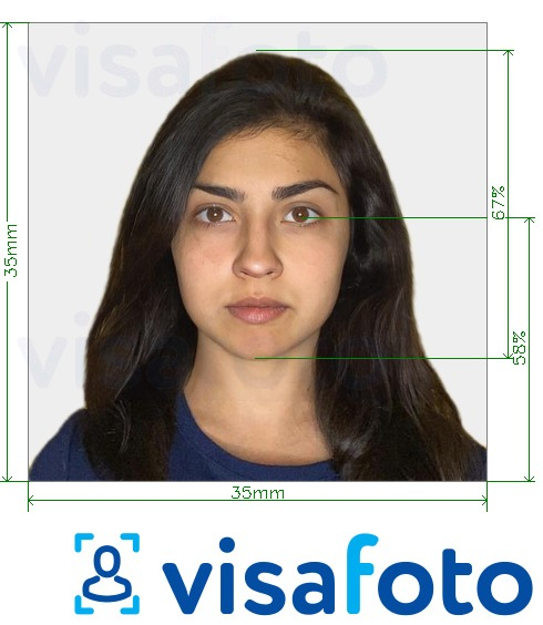 Example of photo for India FRRO (Foreigner Registration) 35x35 mm online with exact size specification