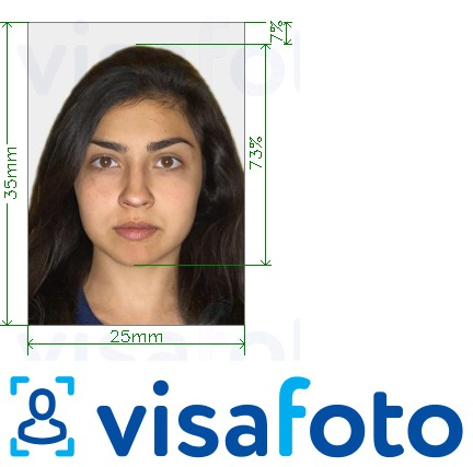 Example of photo for India PAN card 25x35mm (2.5x3.5cm) with exact size specification