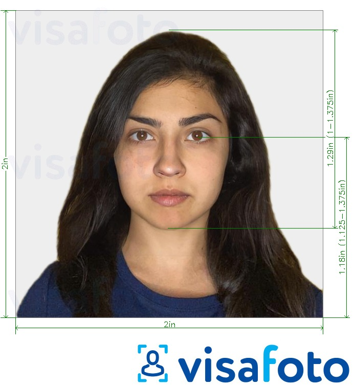 Example of photo for India Visa (2x2 inch, 51x51mm) with exact size specification