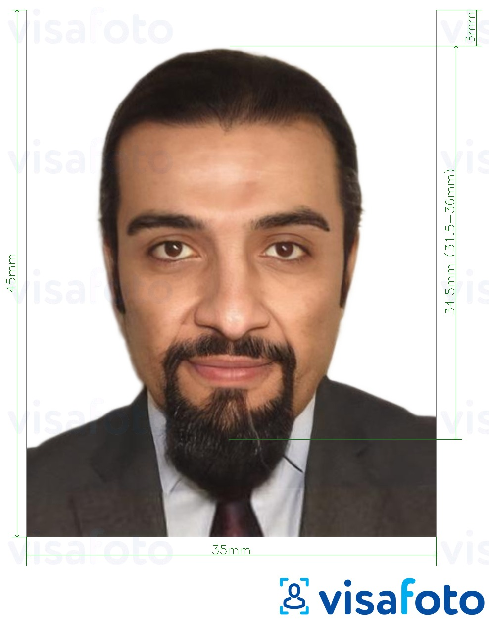 Example of photo for Iraq passport 35x45 mm (3.5x4.5 cm) with exact size specification