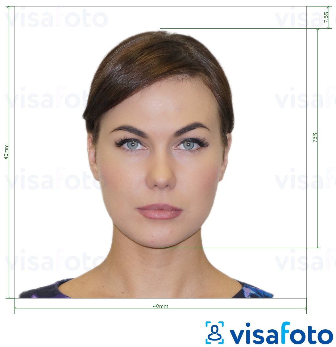 Example of photo for Italy Passport 40x40 mm (LA consulate) with exact size specification