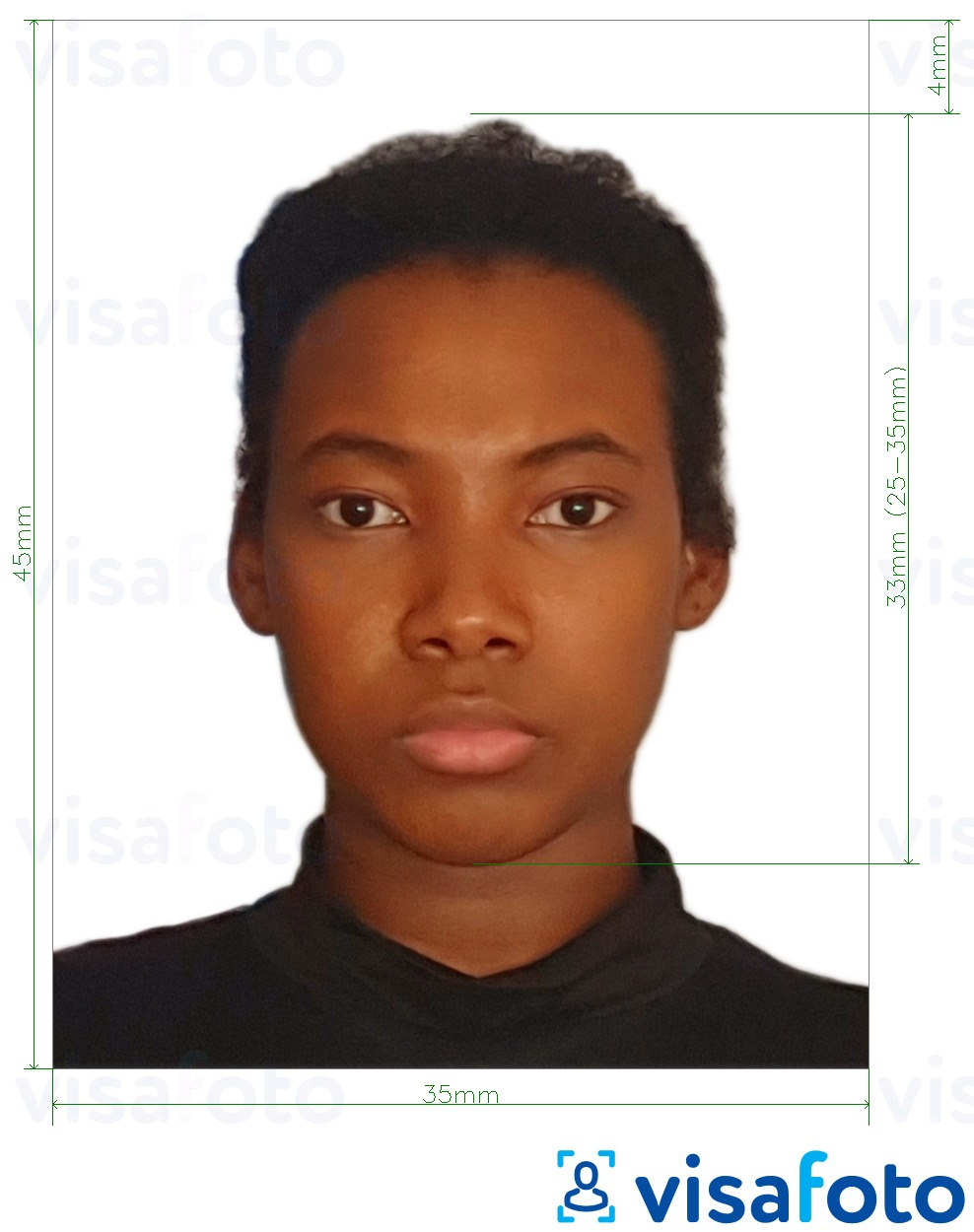 Example of photo for Jamaica passport 35x45 mm (3.5x4.5 cm) with exact size specification