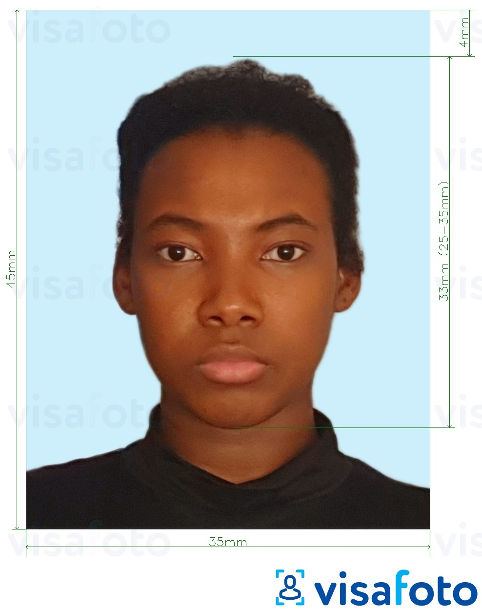 Example of photo for Jamaica passport 35x45 mm pale blue background with exact size specification