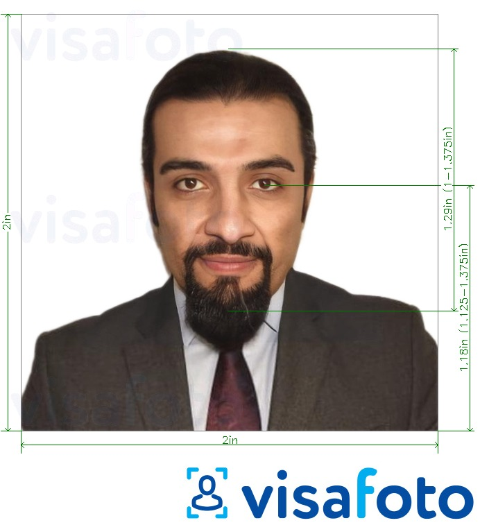 Example of photo for Jordan passport 2x2 inch from USA (51x51 mm) with exact size specification